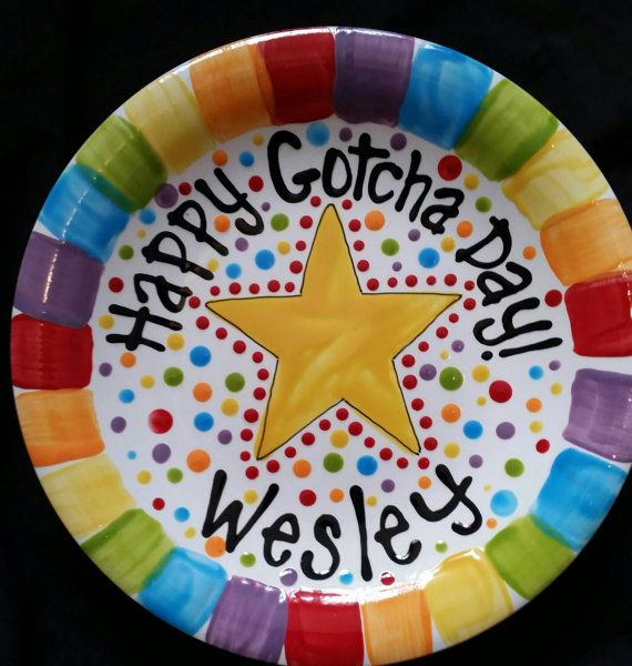 Happy Gotcha Day Plate  Colorful Personalized by cutiepatooties1