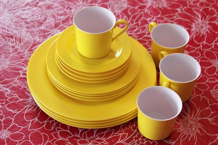 Vintage Oneida Melamine Yellow Dinnerware Set. $25.00, via Etsy.