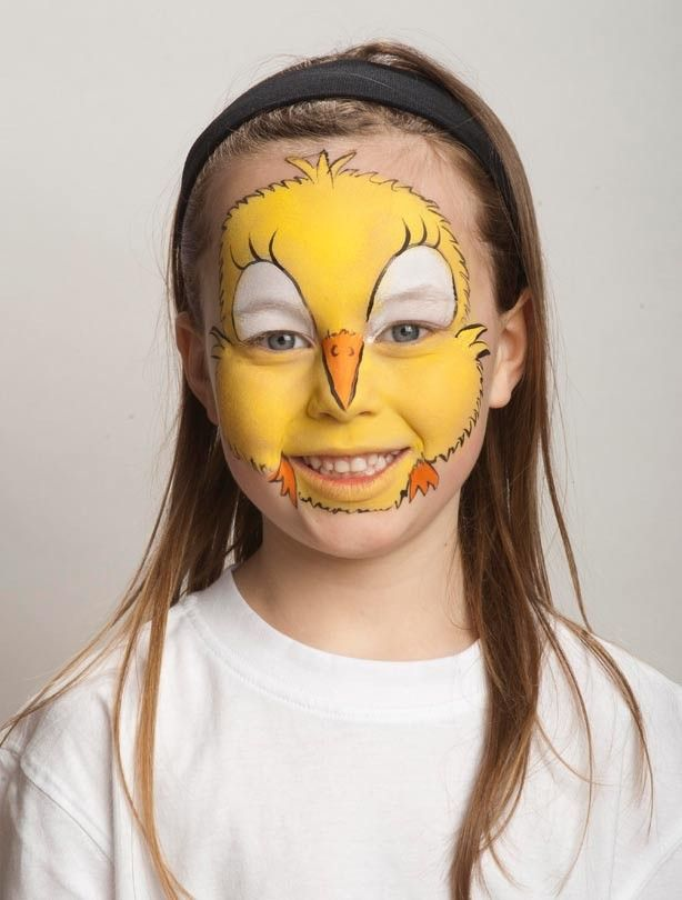 Chick face paint: for the beak and feet - Chick face paint