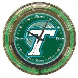 Tulane University Neon Clock--14 Inch Diameter