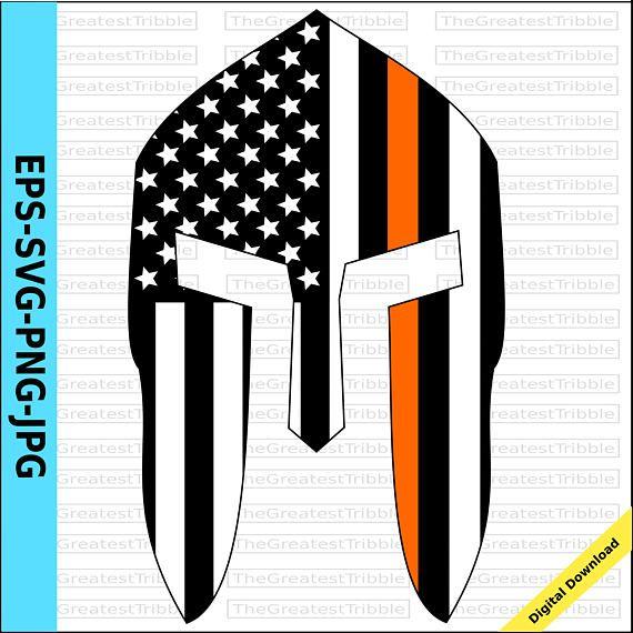 PUNISHER SKULL American Flag THIN ORANGE LINE Vinyl Decal Sticker