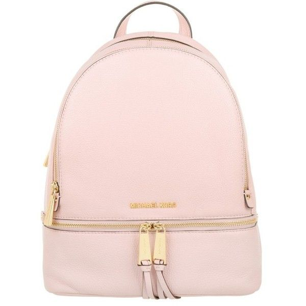 Michael Kors Rhea Zip MD Back Pack Blossom in rose, Shoulder Bags (£284) ❤ liked on Polyvore featuring bags, backpacks, accessories, rose, shoulder bag backpack, pink backpack, logo backpacks, handbags shoulder bags and zip bag