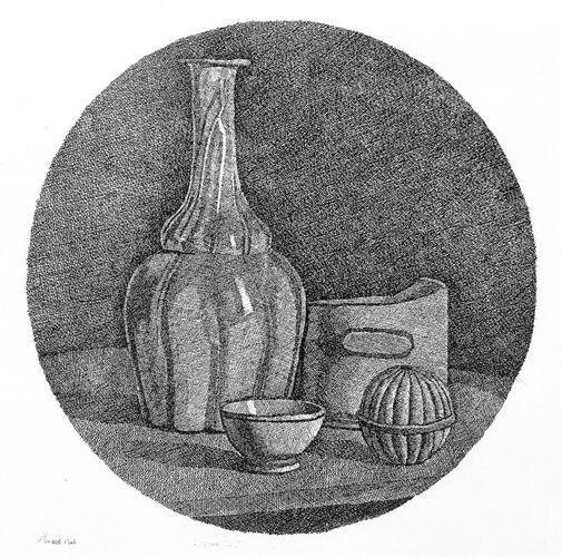 Giorgio Morandi, Nature morte, bouteille et trois objets,  eau forte sur cuivre, 1946, 327 x 259 mm