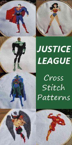 Justice League Cross Stitch Patterns - Wonder Woman, Superman, Green Lantern, J'onn, Hawkgirl, The Flash - nerdstitch.com