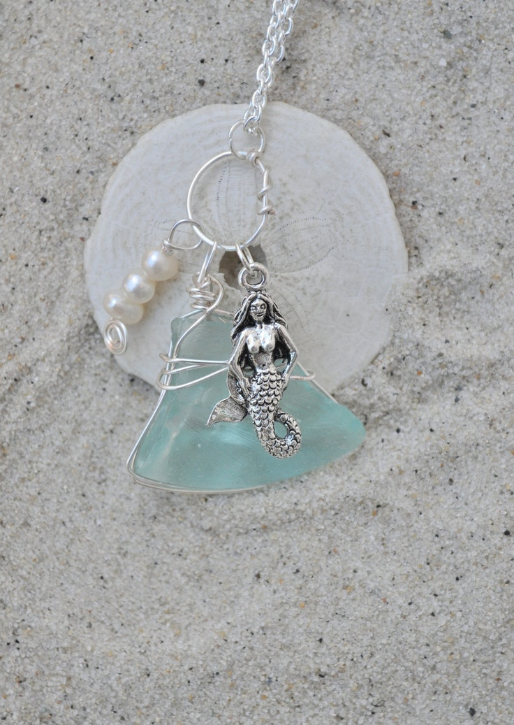 Seaglass Necklace With Mermaid Charms And Pearls Aqua