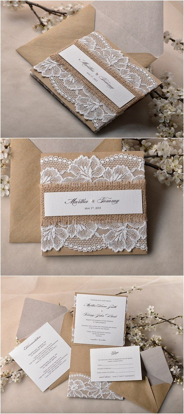 Rustic country burlap and lace wedding invitations @4LOVEPolkaDots
