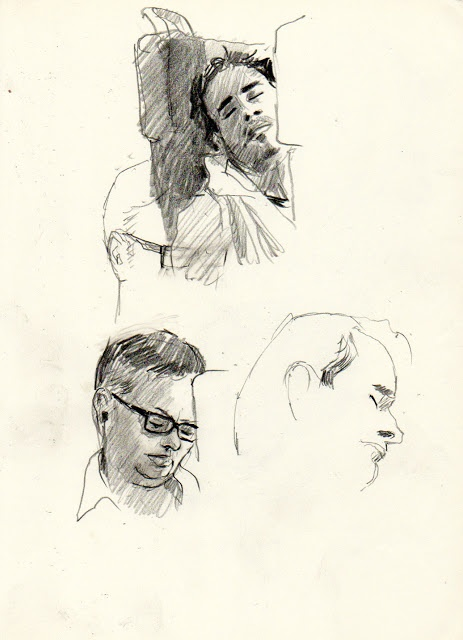 From a series called 'people on the train' sketched by Martin Etienne.