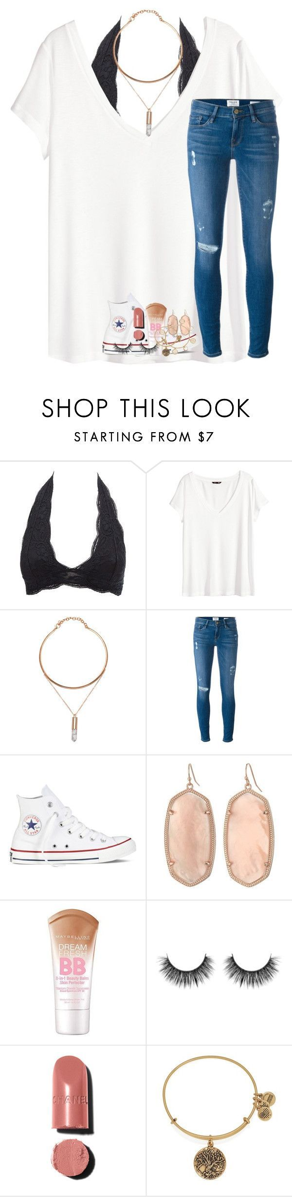 its called a hustle, sweetheart by lindsaygreys ❤ liked on Polyvore featuring Charlotte Russe, HM, Frame Denim, Converse, Kendra Scott, Maybelline, Chanel, Alex and Ani, Tory Burch and Lindsaysbest