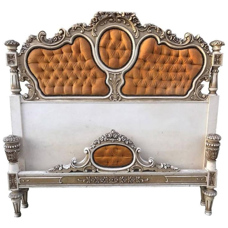 Rare, French, Antique, Vintage Original Painted King-Size Bed For Sale at 1stdibs