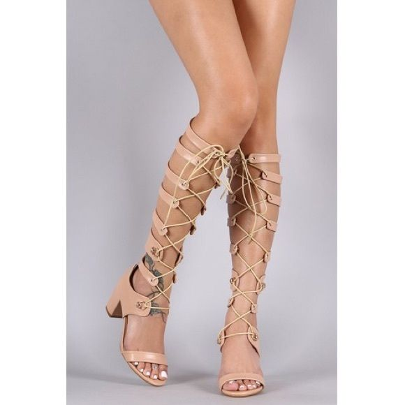 Nude Lace Up Gladiator Heel New with box! The heel height is 3'. Ships out in 4 days. I also have black color. Please request your size! Shoes Lace Up Boots