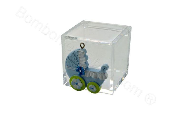 Cubo in plexiglass con applicazione cavallino e carrozzina in resina celeste per il fai da te della bomboniera (LS)