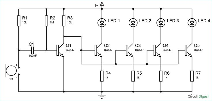 BC547 based led music light circuit diagram | Electronics