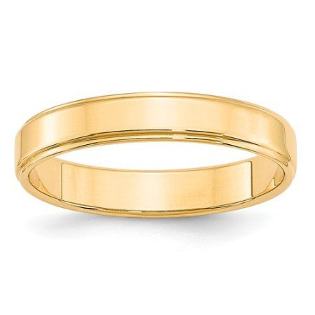 14KY 4mm Flat with Step Edge Band Size 7, Women's, Gold