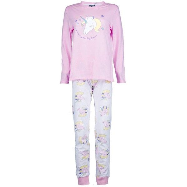 Boohoo Unicorn Long Sleeve Jogger Set | Boohoo ($21) ❤ liked on Polyvore featuring intimates, sleepwear, pajamas, unicorn pyjamas, long sleeve pajama set, long sleeve pajamas, unicorn pajamas and long sleeve pyjamas
