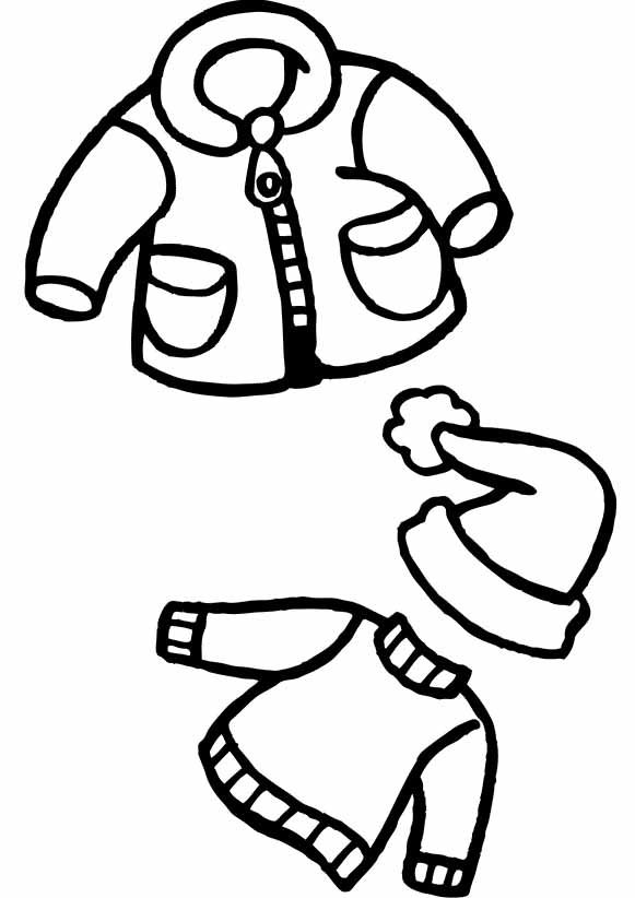 Winter Clothes And Hat Christmas Coloring Pages