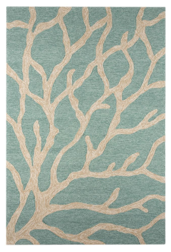 Beach Inspired Rugs Part - 36: Jaipur Rugs Coastal I-O Coral CI13 Frosty Green Hand-Hooked Area Rug