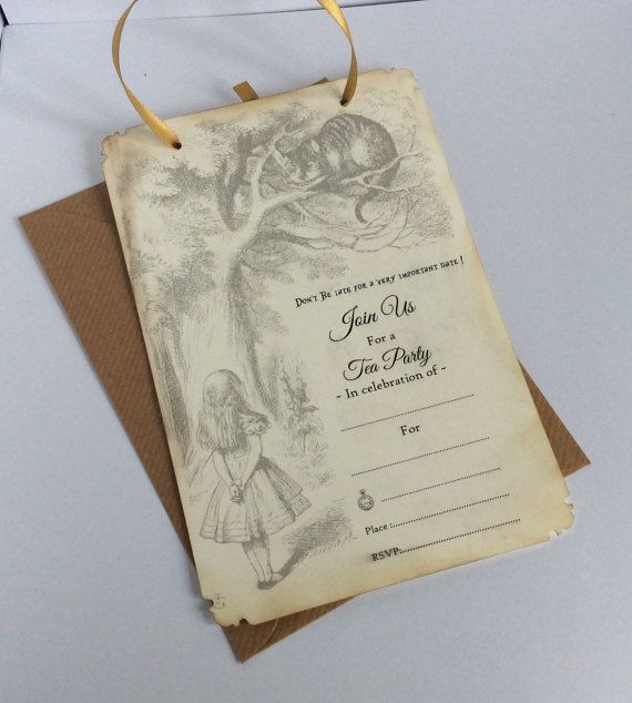 Alice in wonderland invitations tea party invites by evescrafts