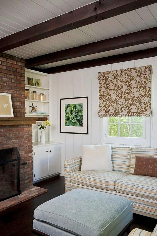 Maybe I will eventually fall in love with my dark beams, looks good with white painted wood panel walls.