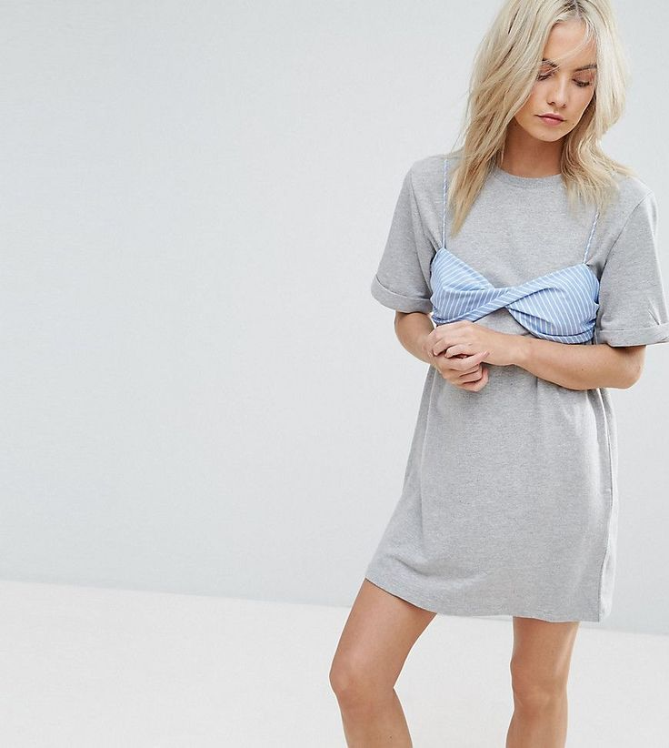 ASOS PETITE T-Shirt Dress with Contrast Stripe Bra - Gray