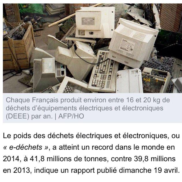 Le poids des déchets électriques et électroniques a atteint un nouveau record en 2014