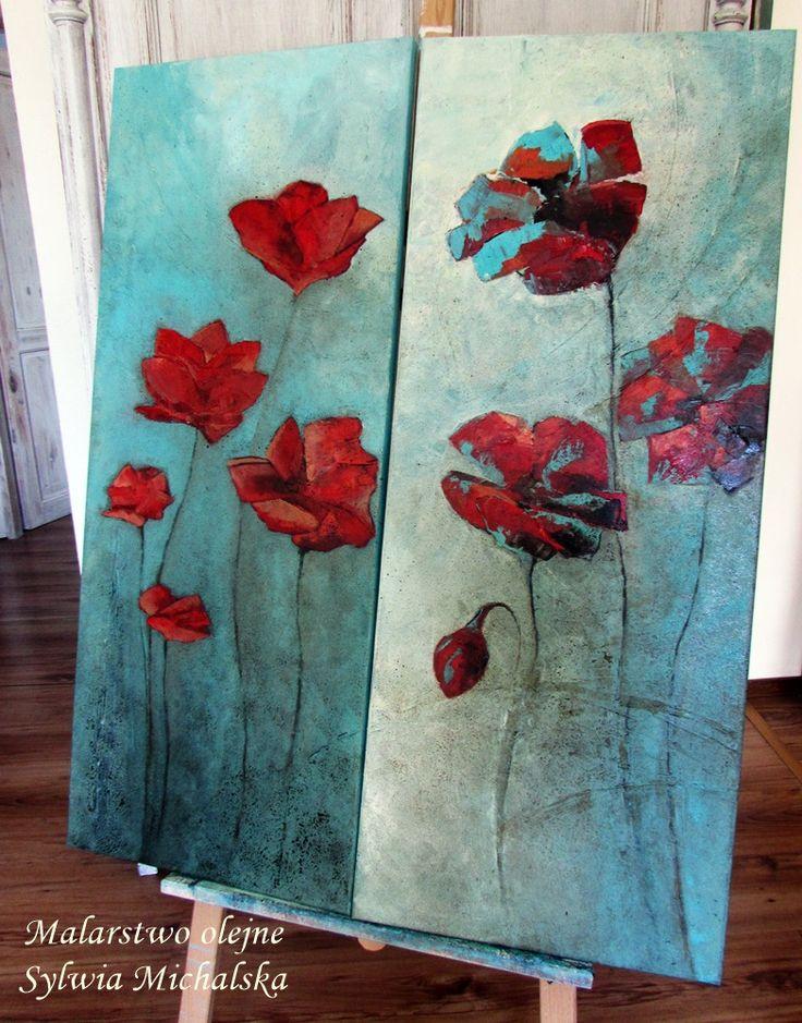 Obrazy olejne - kwiaty, ujęcie abstrakcyjne w turkusach 100x40 cm by Sylwia Michalska