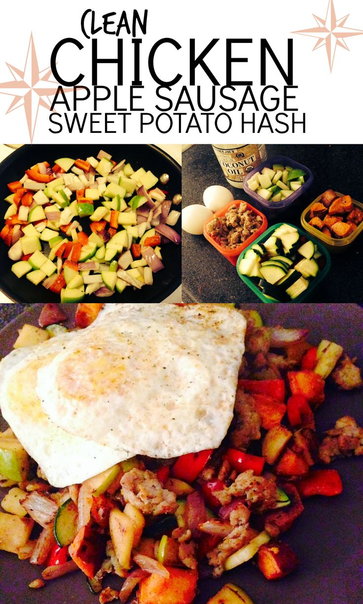 [Chicken Apple Sausage Sweet Potato Hash] This is a really simple recipe to throw together, tastes delicious AND is 21 Day Fix friendly!