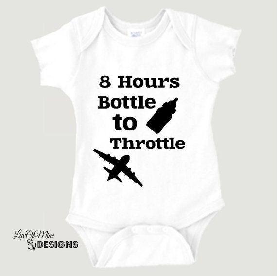 Cute Baby Bodysuit, 8 Hours Bottle to Throttle, Pilot Baby Gift, Baby Aviator, Shower Gift Idea, Aviation Baby, Airplane Baby Shower