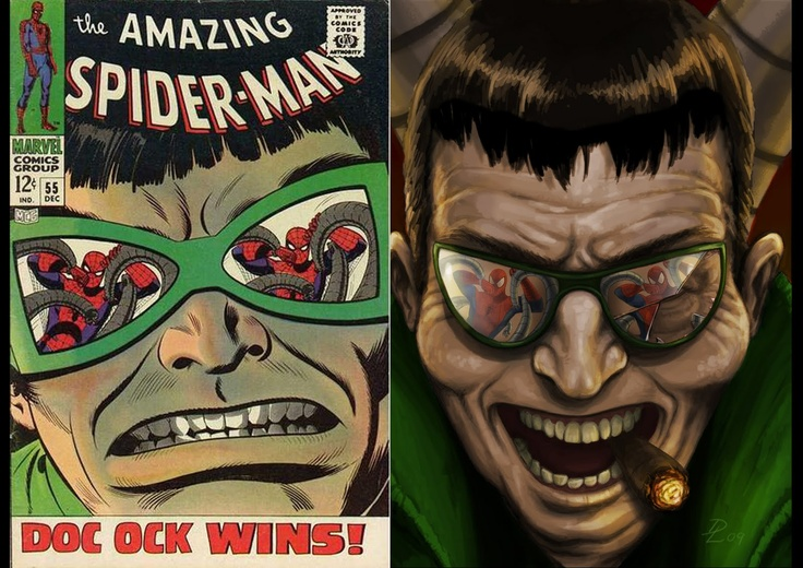 Awesome 60's Spiderman cover redesign (the one on the right!) by talented Dan Lehane