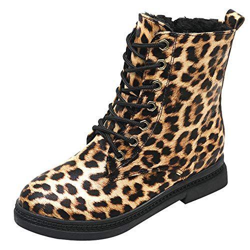 0a99db19c0ed Bottes léopard Martin LuckyGirls Chaussures Femme Bottes Bottines en Daim à  la Mode Femmes Bottes Plates Simples en Cuir Décontractées Chaussures  Léopard ...