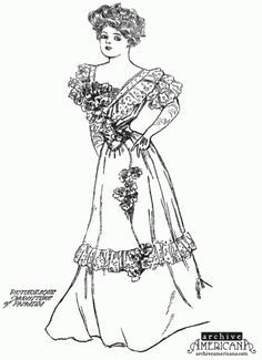 Coloring pages olden day dresses