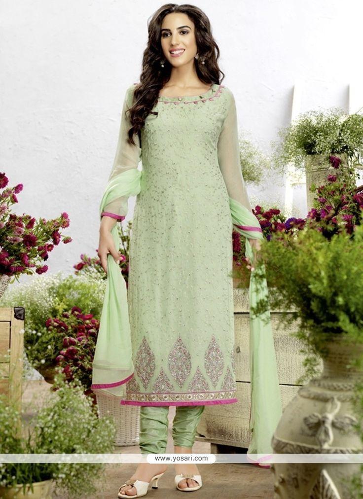 Ethnic Georgette Green Churidar Designer Suit Model: YOS8419