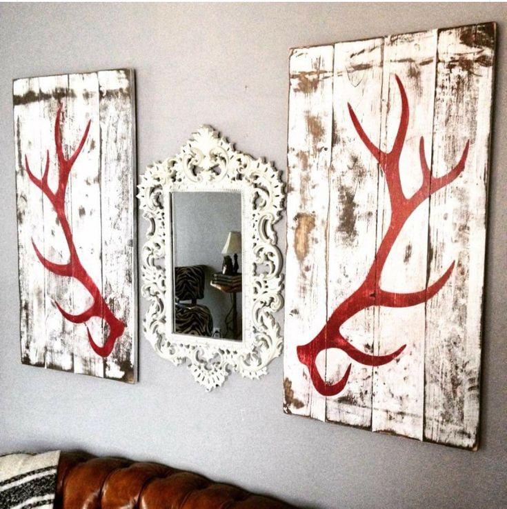 Scroll mirror with elk antlers #homemadewalldecorations