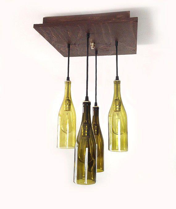 Rustic Wine Bottle Chandelier - Wine Bottle Pendants, Modern Chandelier, Man Cave, Wine Cellar, Kitchen Lighting, Entry Way