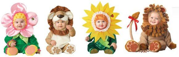 Kostum bayi motif bunga dan hewan kesayangan