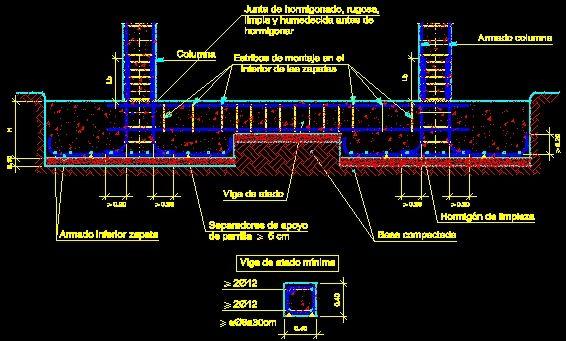 Detalle de zapata y viga de arriostre | DETALLES | AutoCAD ...