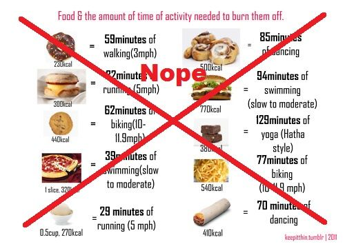 "Screw all this talk about ""if you eat this you have to do this much to burn it off"". No.  Train for your goal body and eat appropriately. It is all FUEL."