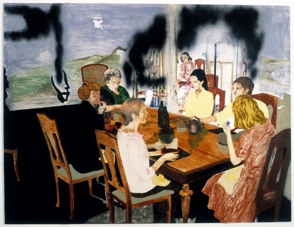 Karin Mamma Andersson  Traveling in the Family  2002  oil on panel  36 1/2 x 48 1/16 inches (92 x 122 cm)