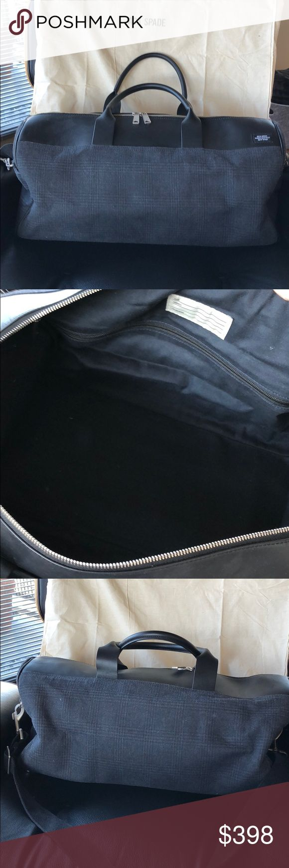 Men's Jack Spade Tartan/Leather Weekender Bag Like new men's weekender bag from Jack Spade. Has only been used once and has been cared for in the protective cover that comes with each Jack Spade bag. Original Price: $498 Protective cover and strap included. Jack Spade Bags Luggage & Travel Bags