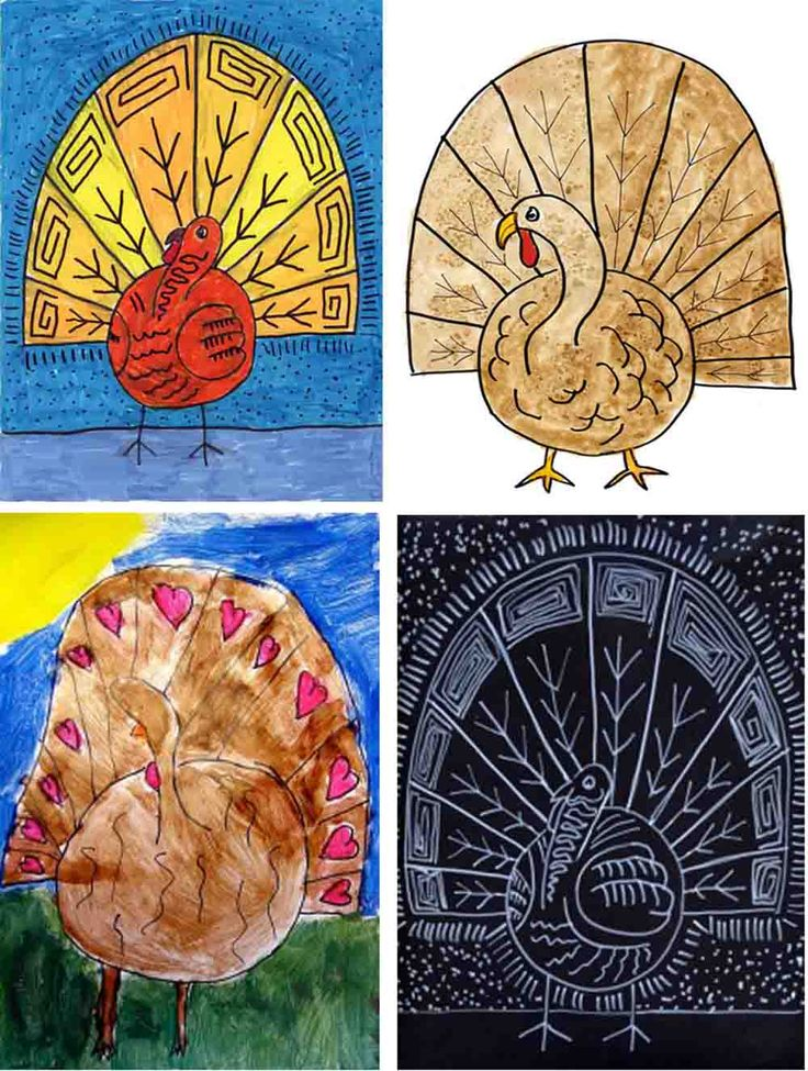 Four Turkeys, same tutorial. Marker, watercolor, tempera paint and poster markers. #turkey #howtodraw #thanksgiving