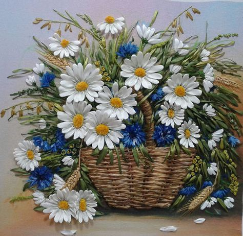 Cornflowers and daisies in a basket #ribbonEmbroidery