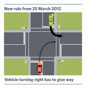 Vehicle turning Right to give way.