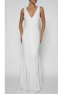 Rachel Gilbert - Everly Gown White Borrow for $339 p/w