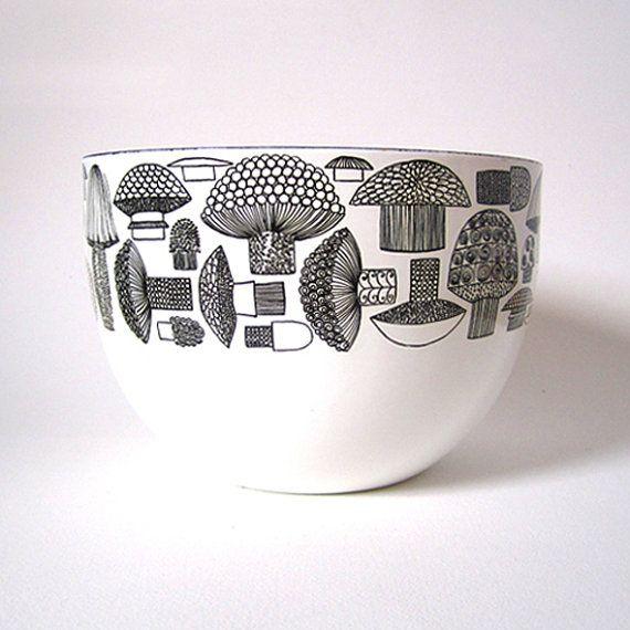 Kaj Franck Finel  Arabia Mushroom Enamel Bowl by MidModMomStore