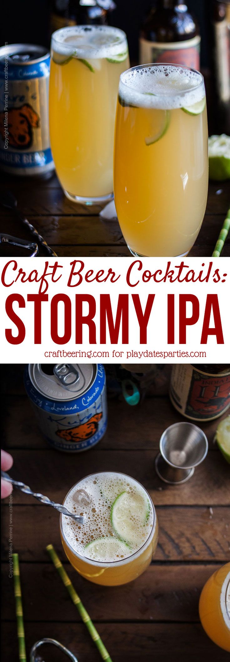 Meet the Stormy IPA cocktail. Inspired by a classic dark rum #cocktail and America's favorite beer style - the India Pale Ale, this craft beer cocktail #recipe can also be seen as a fortified version of a shandy.