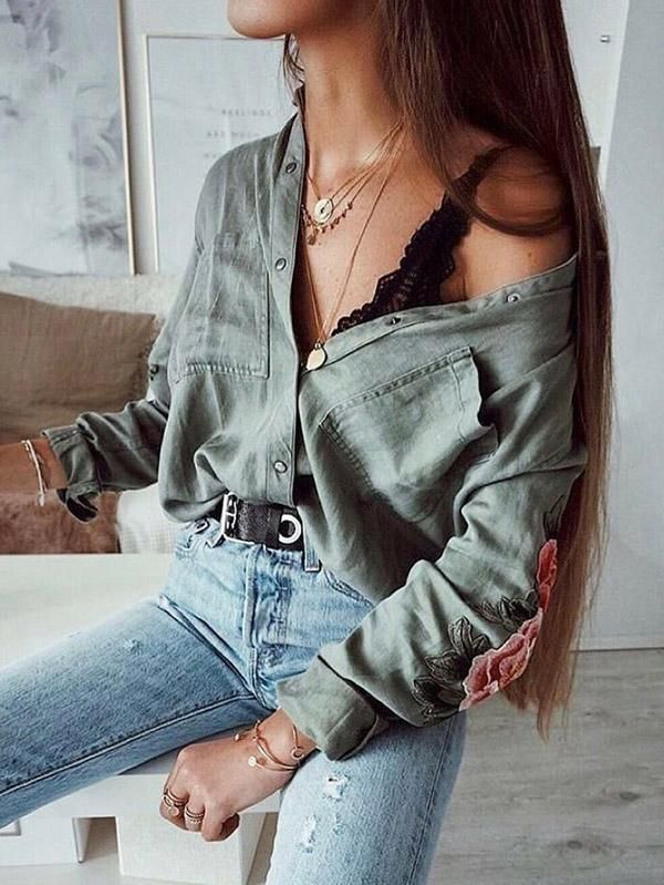 Long Sleeve Army Green Blouses & Shirts Top – out…