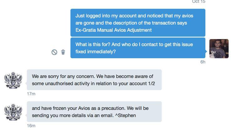 Response from British Airways regarding my Avios