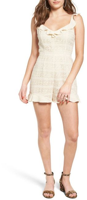 ASTR the Label Ruffle Trim Lace Romper