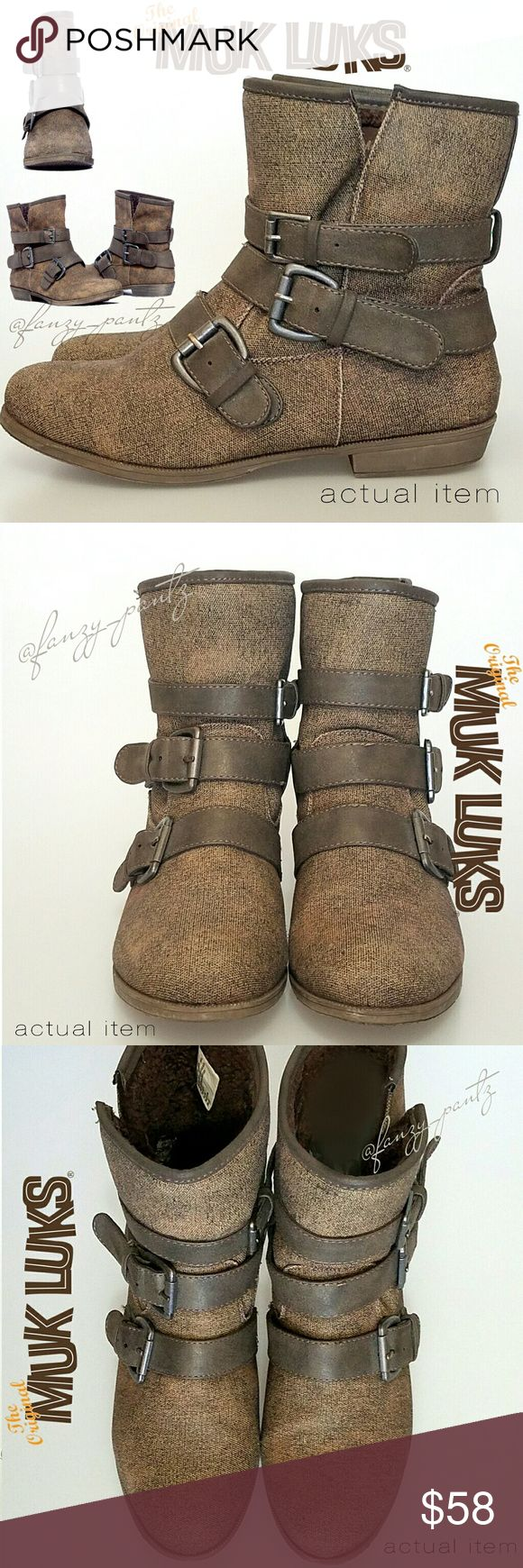 Muk Luk Hannah short buckle ankle boots size 8 Muk Luk boots ~ Hannah ~ brown ~ triple buckle ~ pull on ~ faux sherling lambswool interior lining ~ tweed-like canvas exterior ~  size 8 (on inside tag, shown in photo 7) ~ excellent condition with light wear  on bottom sole  💥details are provided in the last photo   ❌NO trades  ✔REASONABLE offers welcome                   or  ❤hit ' add to bundle '  for a special, no obligation offer. . . just for you! ❤ Muk Luks Shoes Winter & Rain Boots