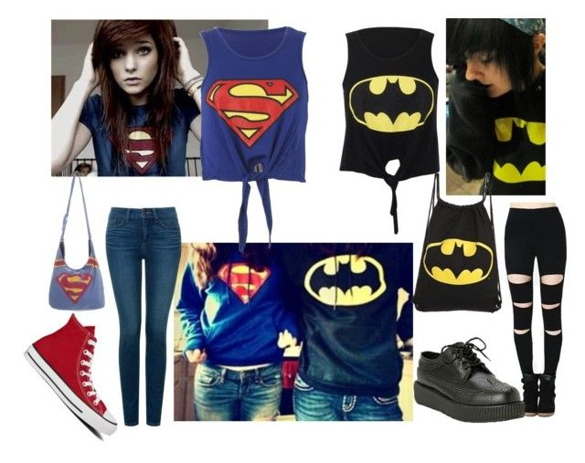 """SUPERMAN girl vs BATMAN girl"" by anna-fuentes-sykes ❤ liked on Polyvore featuring NYDJ and Converse"