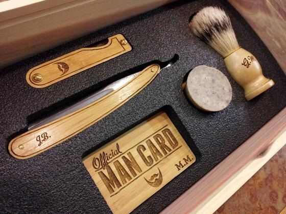 Personalized Handmade Straight Razor Cigar Box Shave Kit - Aromatic Cedar